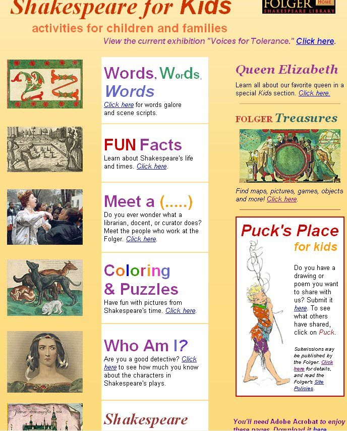 This is a website that has different activities for students to do to learn about Shakespeare's life. This would be a good opening activity for students to develop their background knowledge.