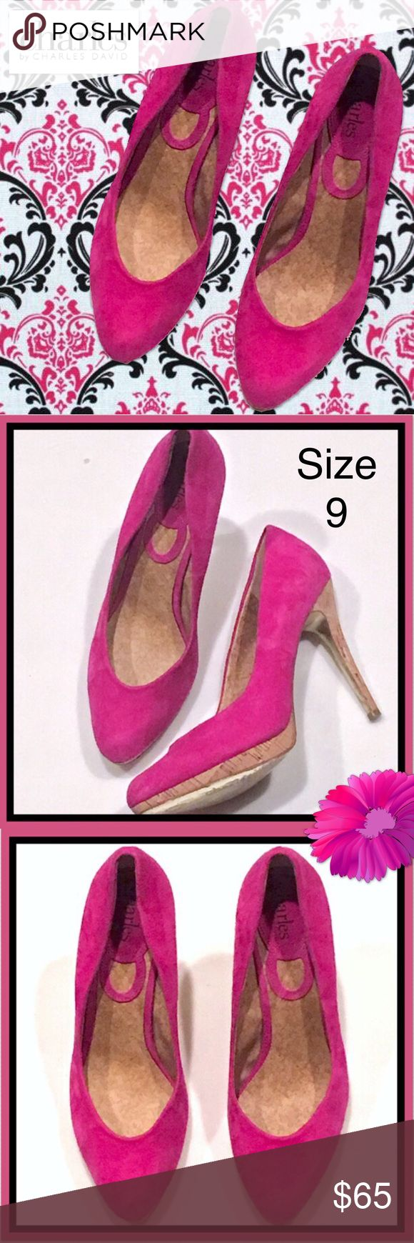 """CHARLES DAVID Hot 💝 Pink Suede Stilettos ~ Sz 9 Gorgeous 💝hot pink💝 suede stilettos from CHARLES Charles David, size 9.  Stiletto heels are made from cork and they measure 4 1/2"""" high.  Excellent clean condition. 💕💝 Charles David Shoes Heels"""