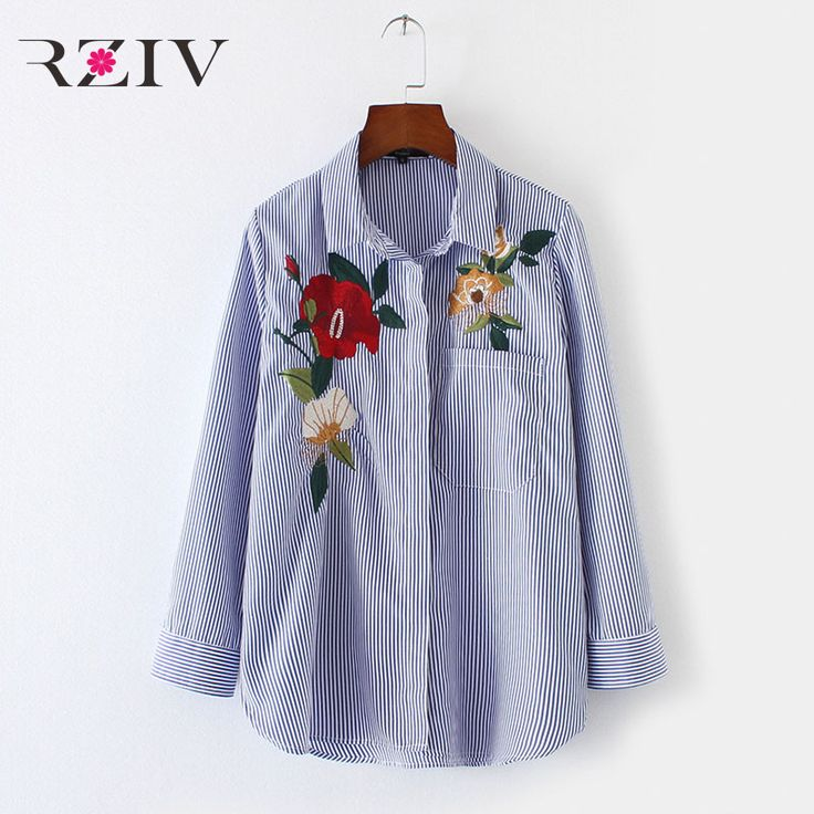 RZIV 2017 Women casual striped shirt embroidered flowers