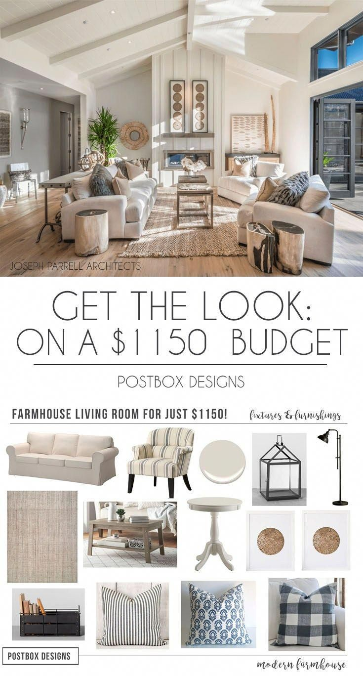 Postbox Designs Interior E Design Get The Look 1150 Farmhouse Living Room Makeover On A Budget Online Family