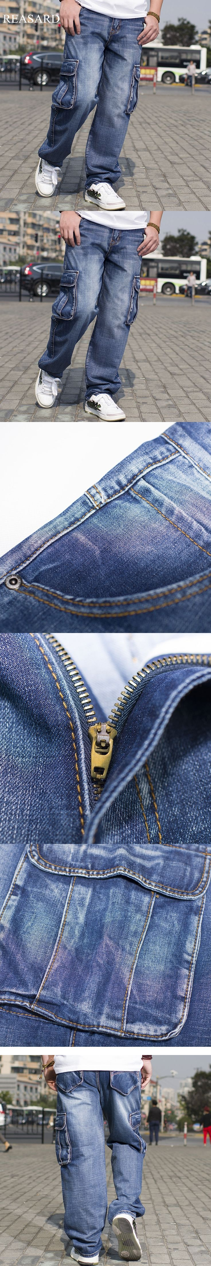 2017 Mens Cargo Jeans Pants Multi Pocket Hip Hop Designer Baggy Jeans Mens Loose Fit Casual Trousers Cotton Size 44 46 MB16248
