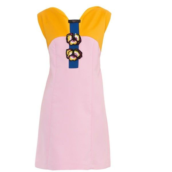 GILES Pansy-embellished tri-colour dress (38.986.130 VND) ❤ liked on Polyvore featuring dresses, yellow multi, pink embellished dress, multicolored dress, sequin embellished dress, pink yellow dress and multi color dress