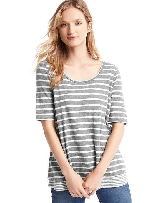 Gap Women s Maternity Double-Layer Nursing T-Shirt Gray White Stripe ... 7f805d3ea
