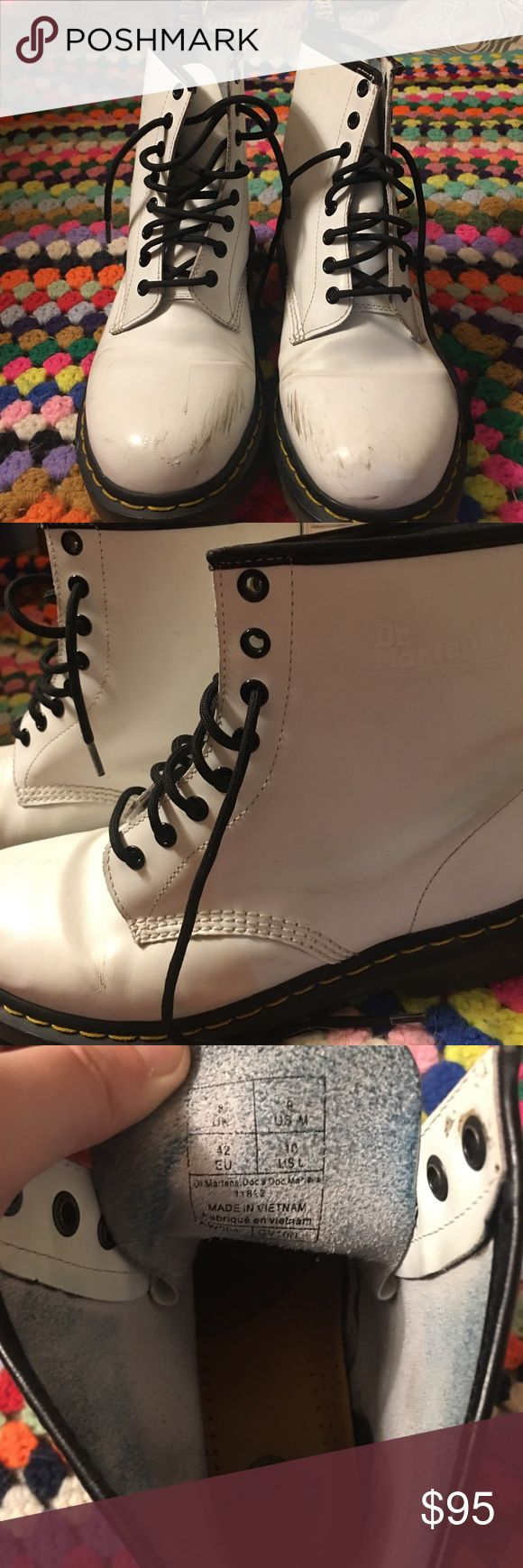 WHITE MATTE LEATHER DOC MARTENS BOOTS •Reason for selling: I love docs so much but I can't pull off the white and i just got tired of trying to break them in haha. •Condition: They were worn twice, once for hiking which is why there's scuff marks. •Material: Real matte leather. Sizing: 9 in men's, 8 UK, 42 EU, 10 US. •Pricing: This is the starting price, I'm willing to take offers :)  -Alina❣️ Dr. Martens Shoes Combat & Moto Boots