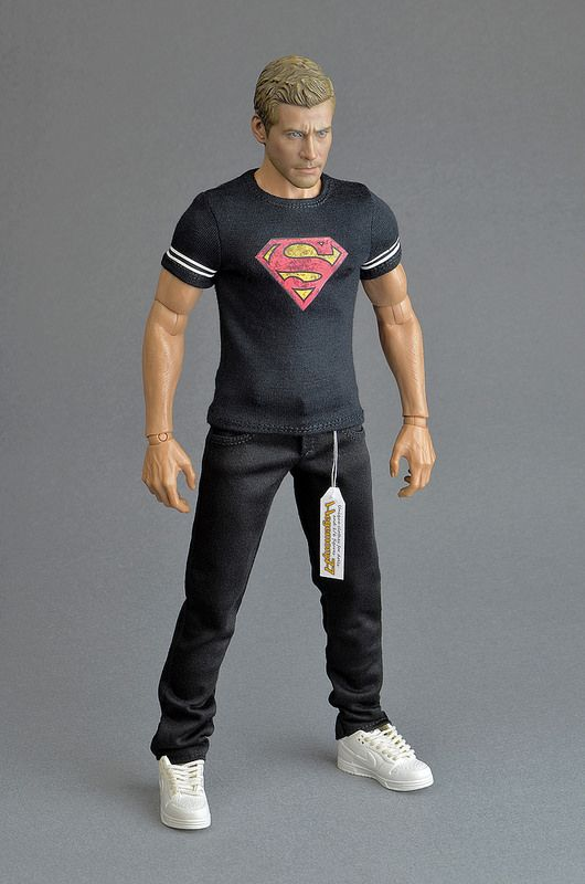 Sixth Scale Custom Black Distressed Superman Superhero T Shirt And