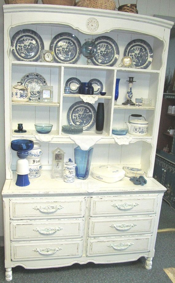 Vintage White Shabby Chic Kitchen Dining Room Hutch Cabinet Dresser Distressed Refinished WHAGN