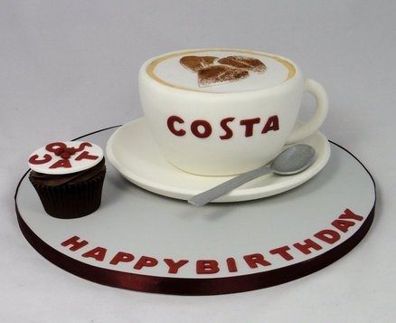 Costa Coffee Cup Novelty Cake  Cake by FancyCakesbyLinda
