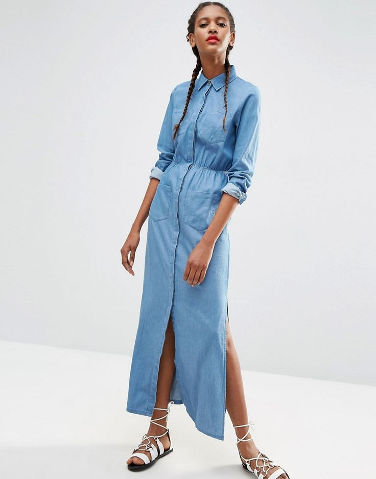 Sewing inspo: ASOS Denim Maxi Shirt Dress in Light Blue Wash