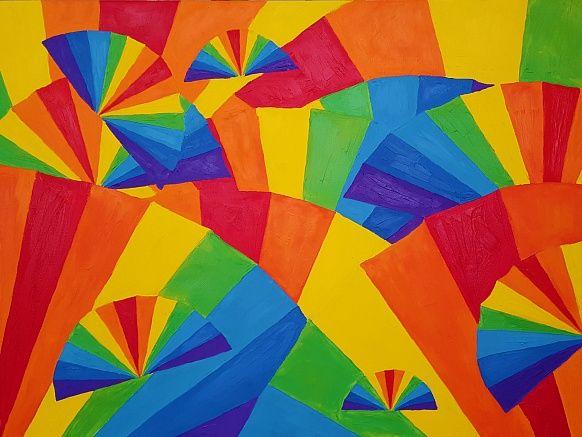 Hand fan 60#80 Oil, Canvas #art #positivism #rainbow #olgakeles #colorful #beautiful #colortherapia #handfan #ольгакелеш