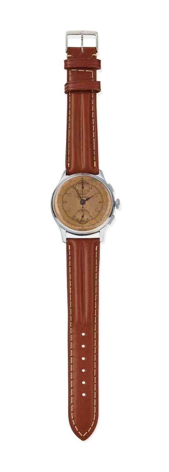 A Gentleman's stainless steel chronograph wristwatch, Breitling, circa 1945. Manual. 35mm. Venus 170 movement. Case number 600001 178. Circular case with copper dial, painted Arabic numerals, centre sweep seconds, sub dials at 12 and 6 o'clock. Dial and movement signed. Non-original brown leather strap. - Price Estimate: $2400 - $2800