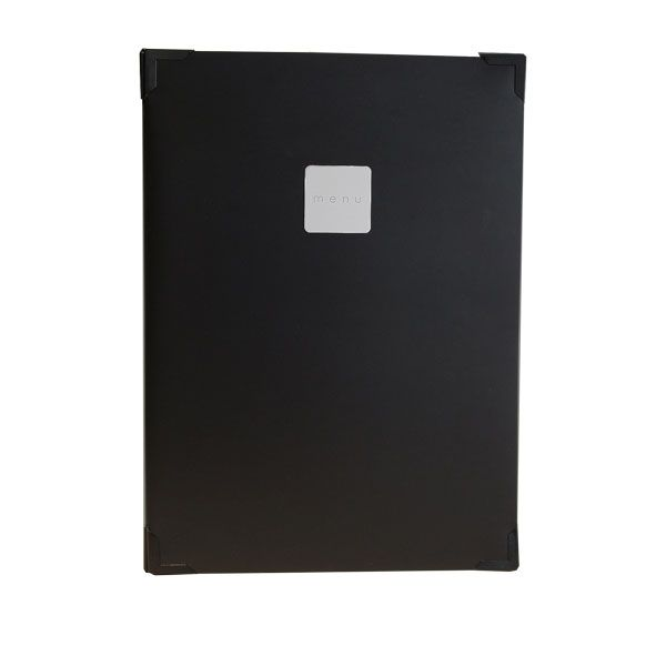 Black leather restaurant menu cover