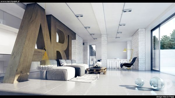 This is LARGE ART all right!  haha  3d visualization / interior design by Marcin Pająk, via Behance