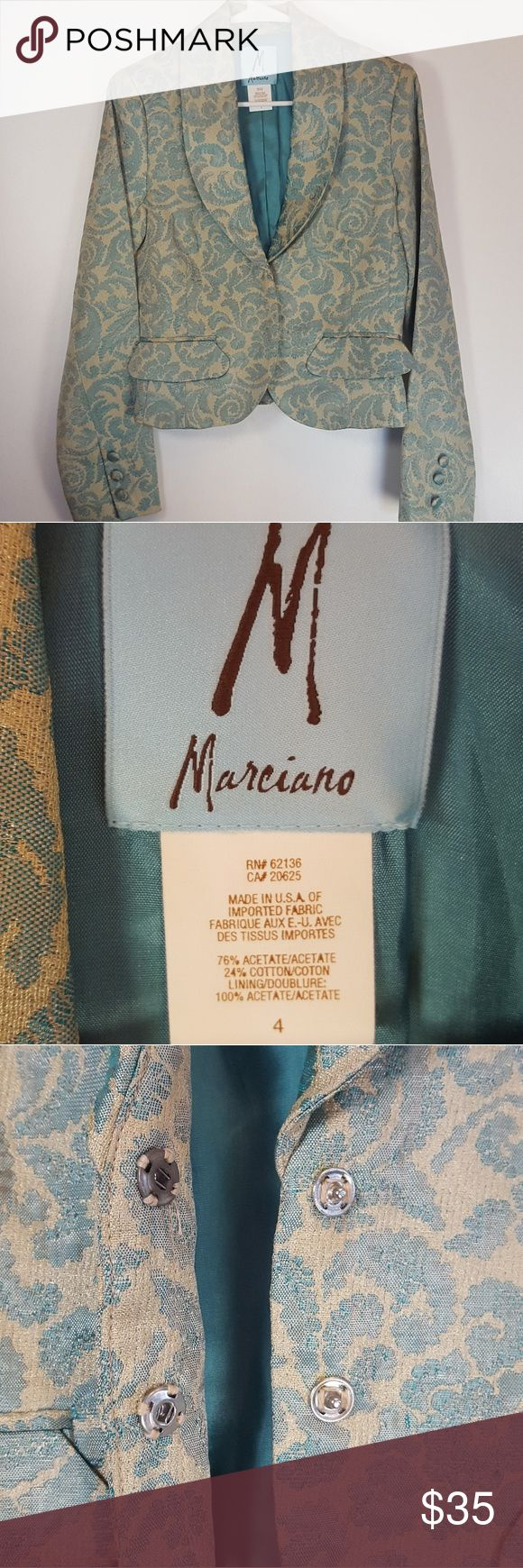 Vintage! Marciano Brocade Blazer This is a gorgeous gold and turquoise blazer in great condition. Marciano Other