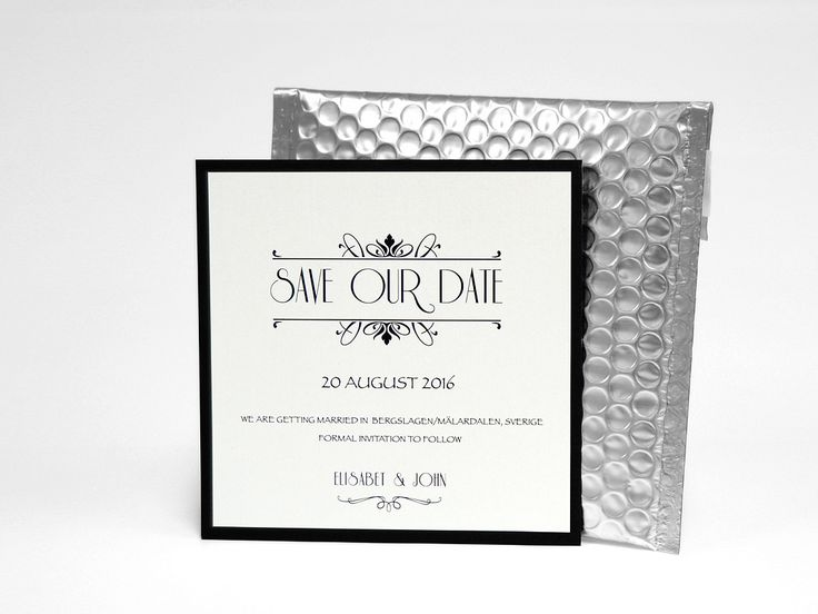 silver save the date med bubbelkuvert lyxigt unikt annorlunda glamour glitter