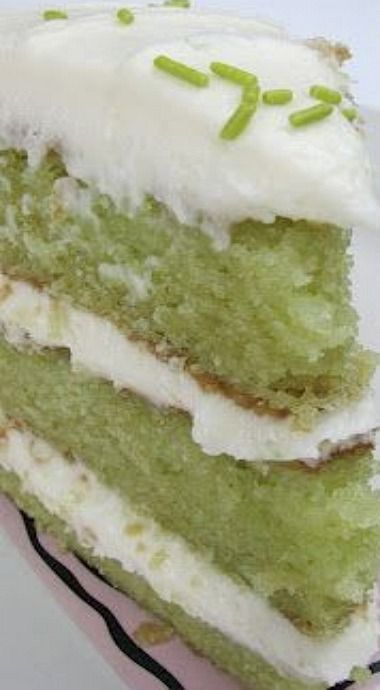 Trisha Yearwood's Key Lime Cake ~ This cake is ULTRA moist. It was moist even before you pour a mixture of lime juice & powdered sugar over the hot cake. (R)