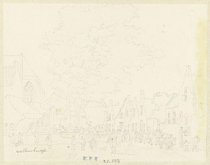 Hermanus Petrus Schouten | Markt in het dorp Valkenburg, Hermanus Petrus Schouten, 1757 - 1822 |