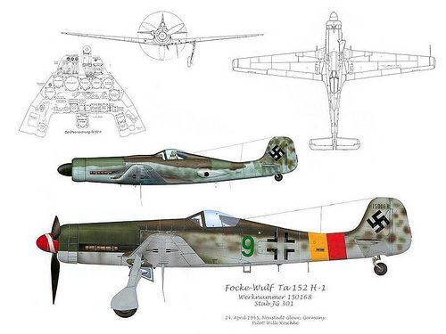 "Focke-Wulf Ta 152 3V  The Focke-Wulf Ta 152 was a World War II German high-altitude fighter-interceptor. The Ta 152 was a development of the Focke-Wulf Fw 190 aircraft, but the prefix was changed from ""Fw"" to ""Ta"" to recognize the contributions of Kurt Tank who headed the design team. The number 152 was chosen in the German air ministry's list of numbers allocated to German aircraft companies, and was not related to the designer's previous projects or achievements."