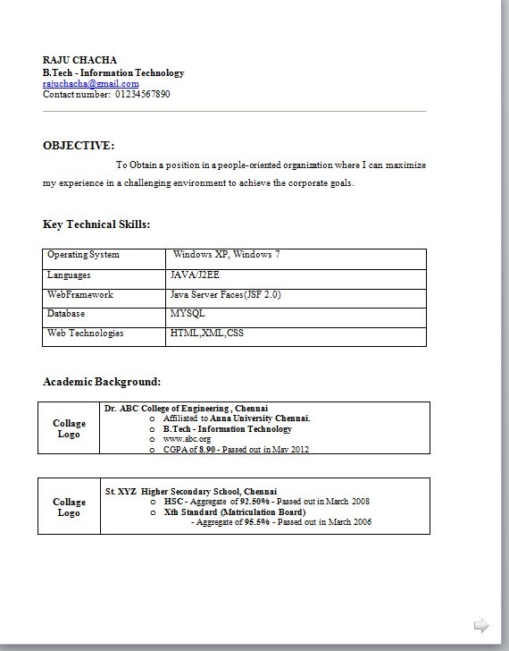 Basic Resume Format Pdf - http://www.resumecareer.info/basic-resume-format-pdf/
