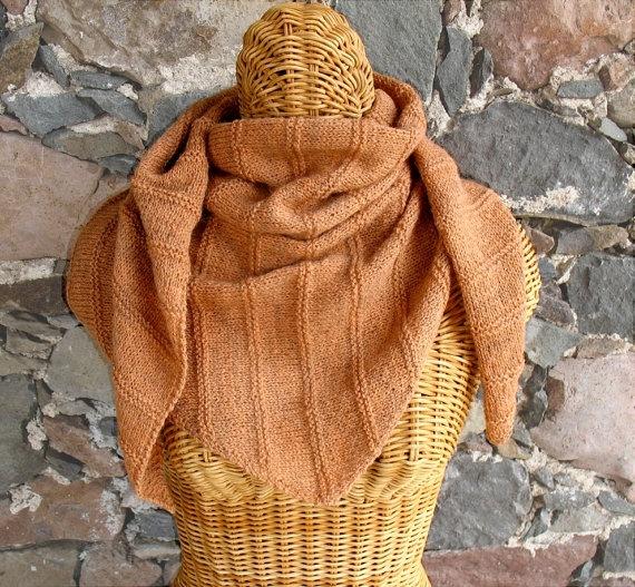 Hand-knit triangle scarf/shawlette