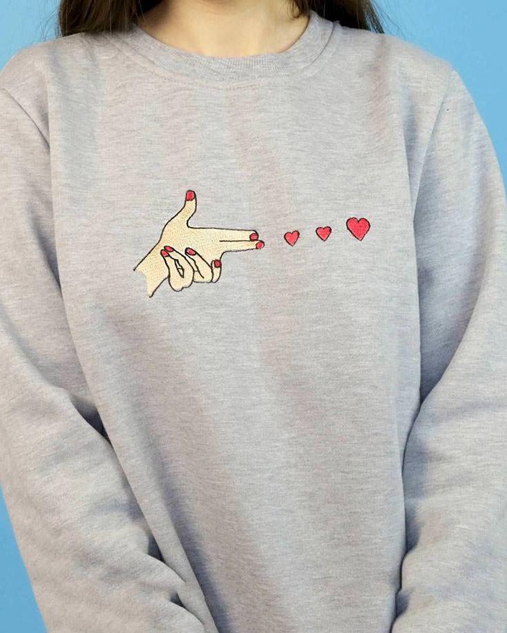 finger gun sweatshirt boogzel apparel love heart