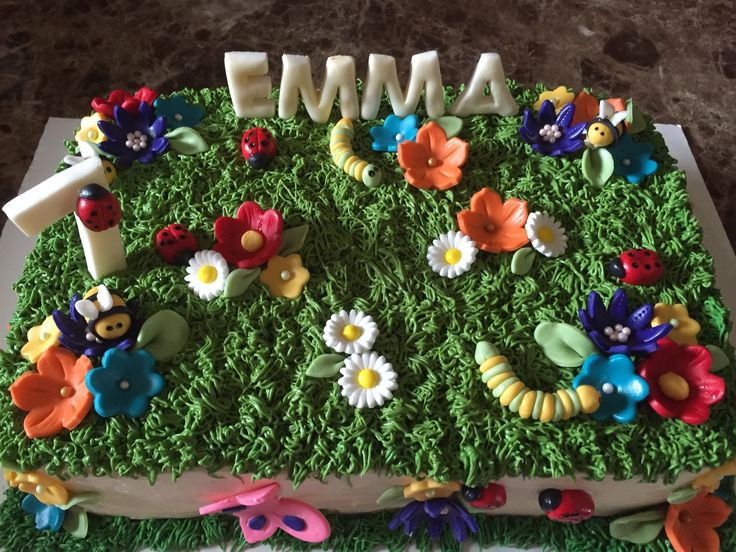 Bugs and flowers cake