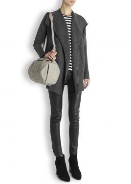 Grey ribbed wool blend cardigan