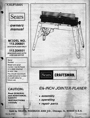 Craftsman Planer Jointer Owners Manual