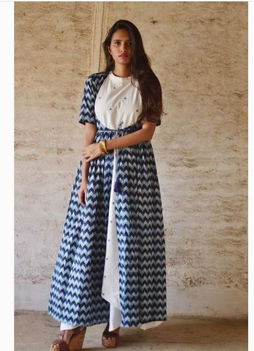 049e88757f Beautiful Long Jacket style kurti with detailing. | Kurtis in 2019 ...