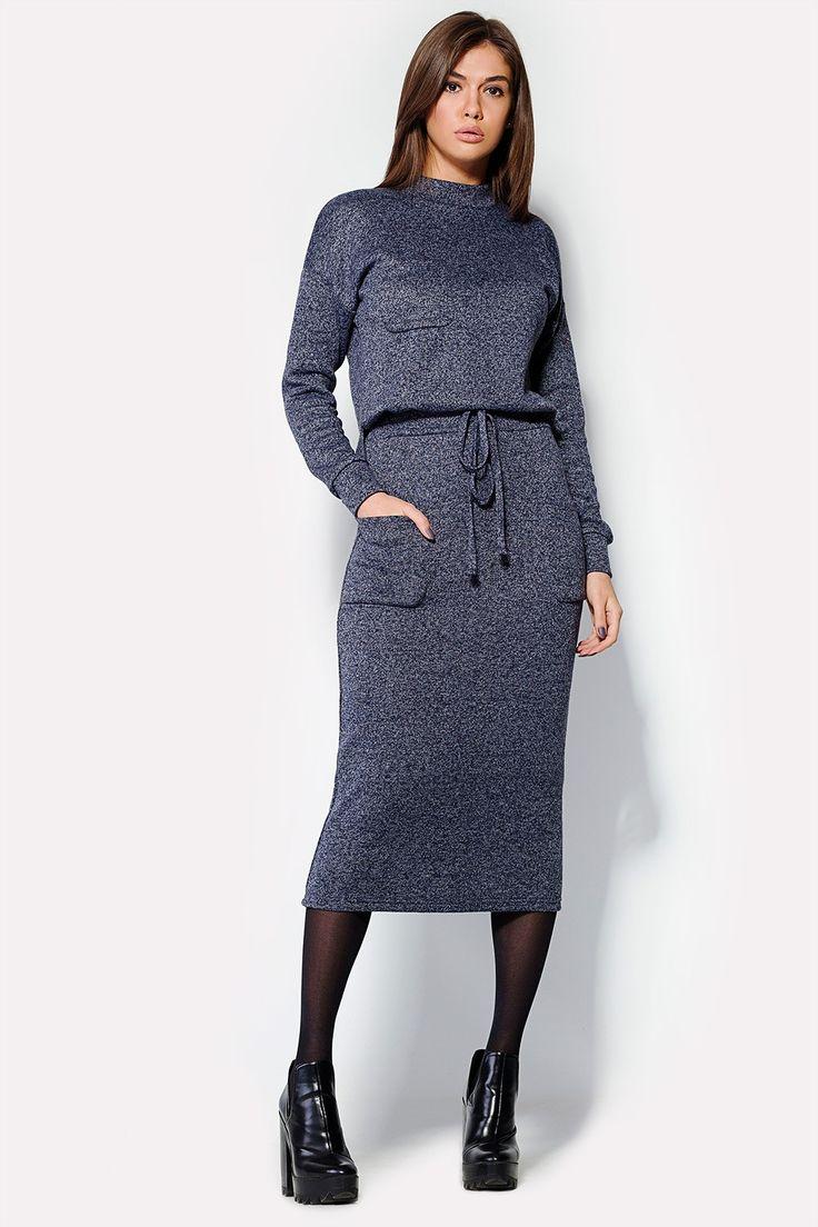 Купить длинное темно-синее трикотажное платье FELINE с завязкой на талии и длинными рукавами на манжетах в брендовом бутике TM CARDO в брендовом бутике TM CARDO
