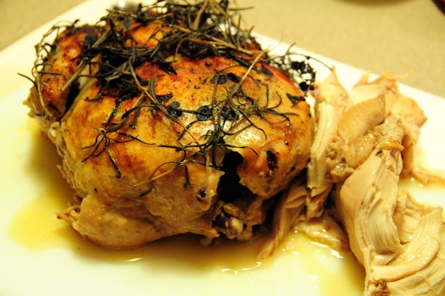 """Crockpot """"Rotisserie"""" Chicken - easy way to cook a whole chicken (fall off the bone style)"""
