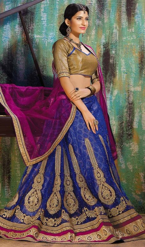 Blue Color Net and Jacquard Embroidered Choli Skirt