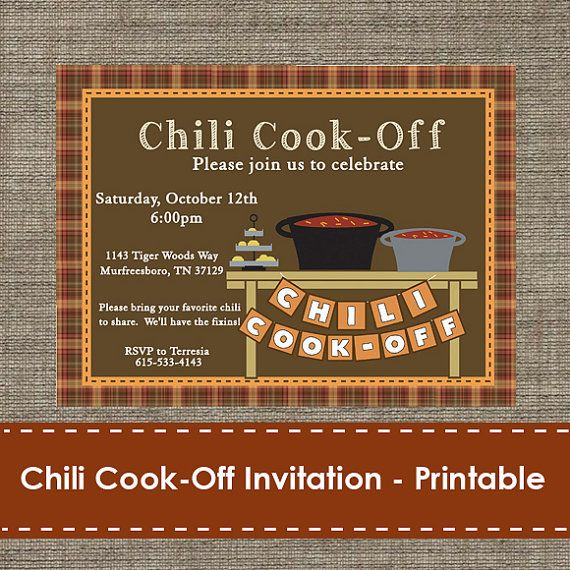 Chili Cook Off invitation. Great invitation for fall party…