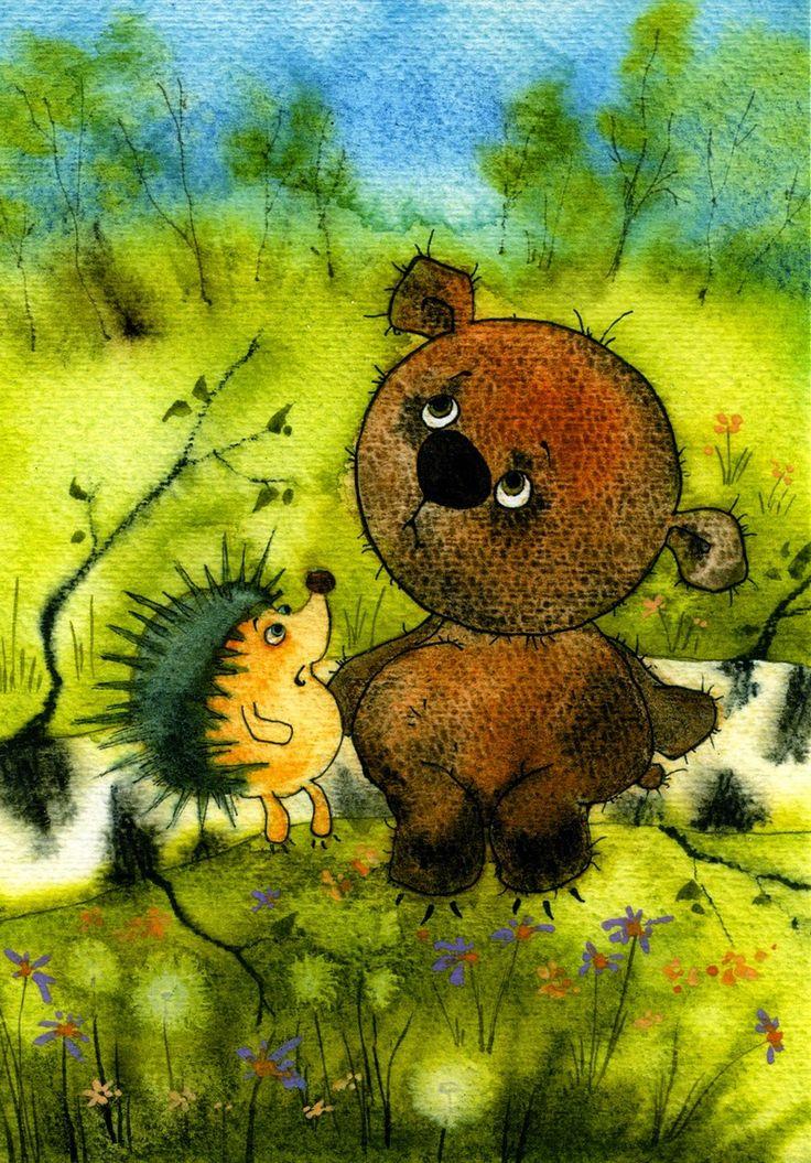 Картинки еж и медвежонок