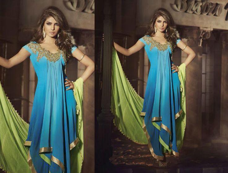 Priyanka Chopra in Blue and Lime Green Asymmetrical high -low anarkali set