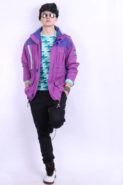 Adidas Trekking Mens D48 F174 M Vintage Nylon Parka Jacket Plum Color - RetrospectClothes