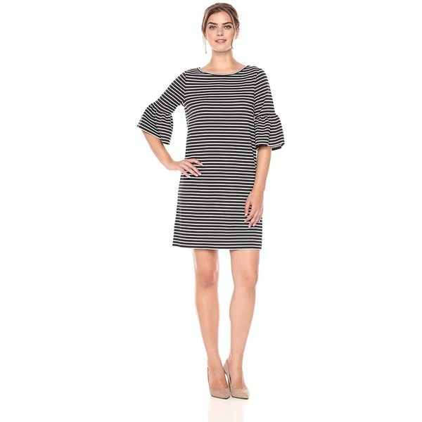 Lark Ro Women's 3/4 Bell Sleeve Scoop-Neck Shift Dress ($70) ❤ liked on Polyvore featuring dresses, striped shift dress, bell sleeve shift dress, white shift dresses, white bell sleeve dress and scoop neck dress