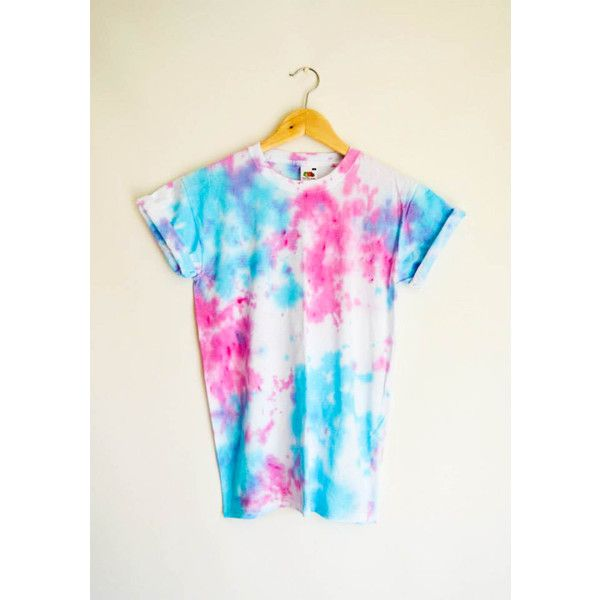 Pink Blue Tie Dye Top T-Shirt Festival Boyfriend Summer Hipster 90'S... ($19) ❤ liked on Polyvore featuring tops, t-shirts, silver and women's clothing