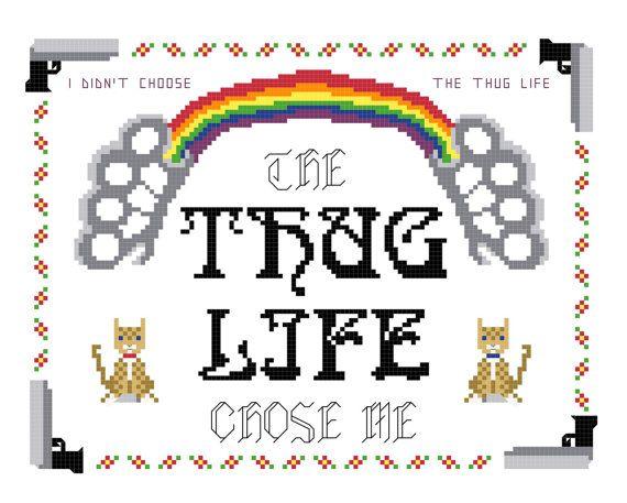 Cross Stitch Pattern -- Thug life Sampler, rainbow, deadly kittens, brass knuckles, internet meme cross stitch sampler