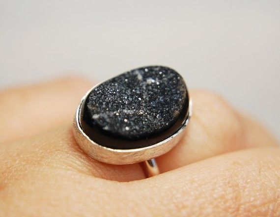 Sterling silver ring with drusy agate by mardargent on Etsy, €50.00