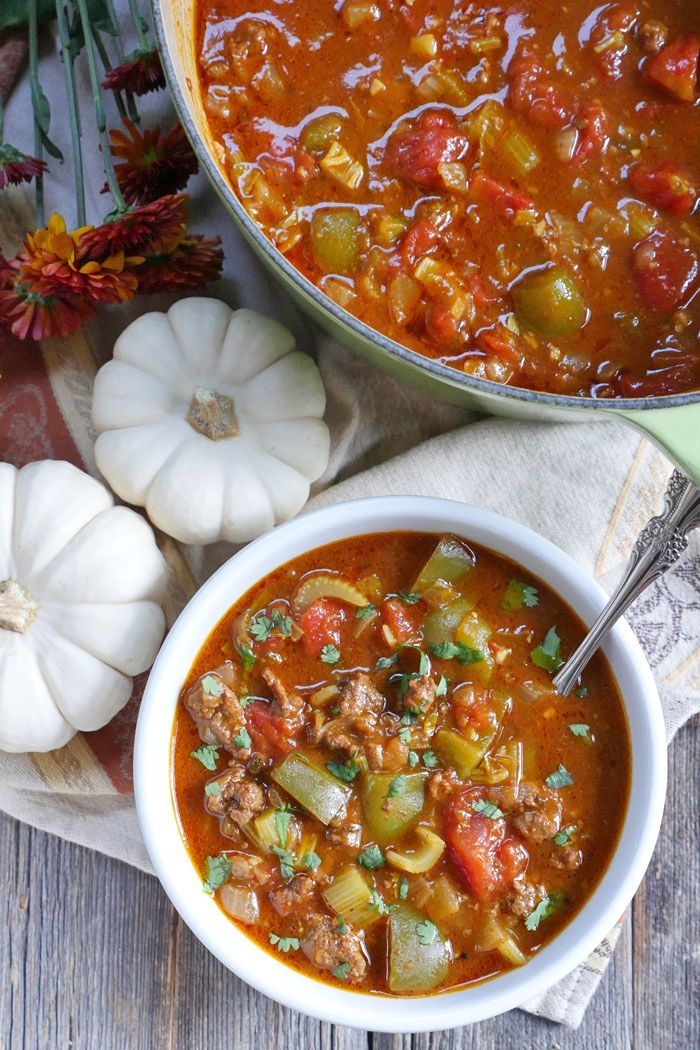 Paleo Pumpkin Chili - avocado oil (might sub olive/coconut), ground beef (might sub chicken/turkey), onion, garlic cloves, canned diced tomatoes, pumpkin puree, bone broth/stock (sub chicken/beef/veggie broth), celery ribs, green bell peppers, coconut sugar (omit or sub another sweetener), fresh sage, chili powder, pumpkin pie spice, salt, black pepper, cayenne, bay leaf, freshly grated nutmeg