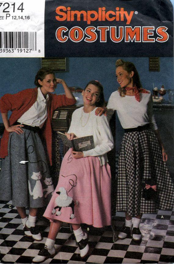 Simplicity 7214 Girls Poodle Skirts Circle Sewing Pattern Sizes 12