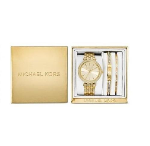 Michael Kors MK3430 Mini Darci Gold tone Watch \u0026 2 Bracelet Box Set NEW!  $375
