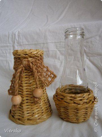 Поделка изделие Плетение Поднос и две вазочки Бумага газетная Трубочки бумажные фото 3