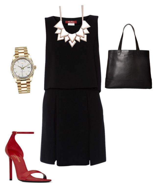 """Vestido negro"" by psic-irais on Polyvore featuring moda, MaxMara, Yves Saint Laurent, SOREL, Full Tilt y Rolex"