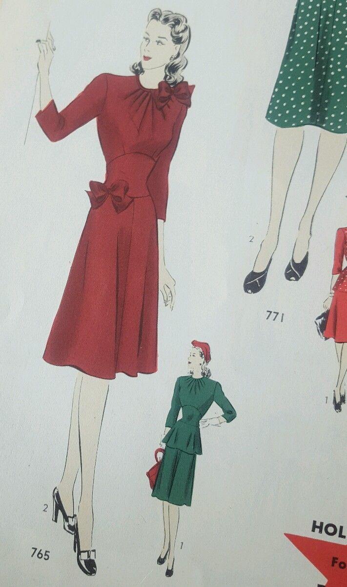 Mejores 115 imágenes de Design Styles: 1940\'s dresses part 2 en ...
