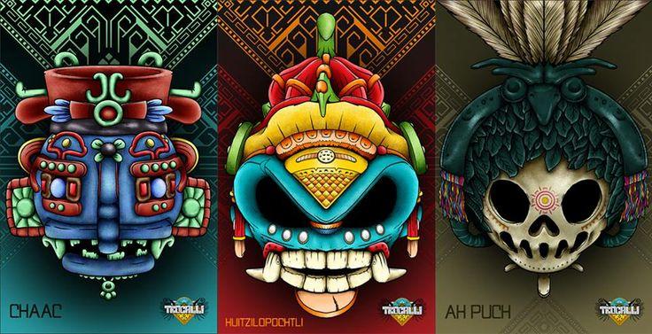 #DIseño #Carteles #Exposición #Art #Toys #Dioses #Teocalli #Chaak #Huitzilopochtli #Ah Puch #Ilustración #Digital hecha en #Sketchbook Pro y #Photoshop con #Wacom #Cintiq 12 wx R3X #Diseño Rich Erretresequis