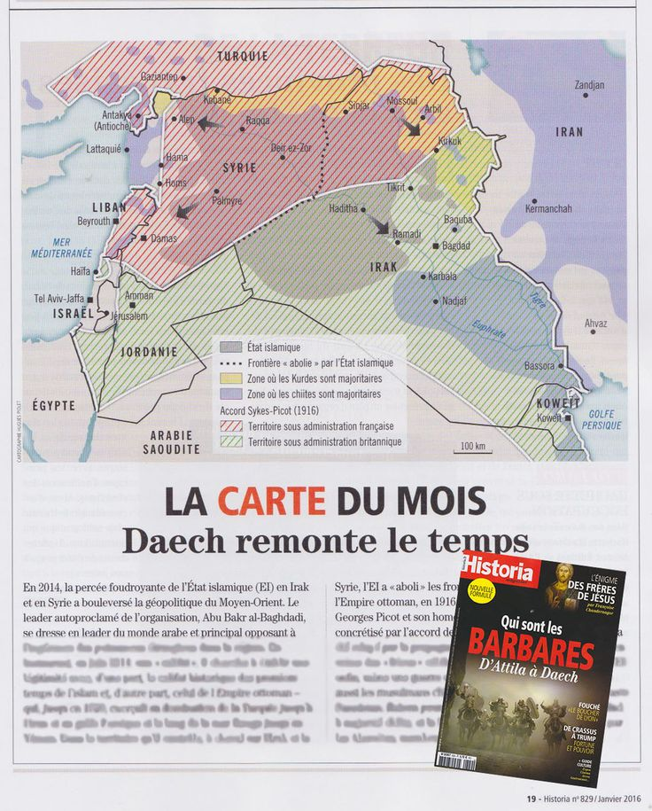 Historia / La carte du mois - Syrie/Irak. Syria, Iraq : back in time before the Sykes-Picot agreement. Map created by Hugues Piolet for Historia magazine.