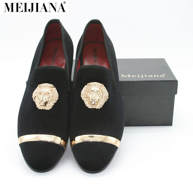 ==> [Free Shipping] Buy Best New Fashion Gold Top and Metal Toe Men Velvet Dress shoes italian mens dress shoes Handmade Loafers Online with LOWEST Price | 32797336311