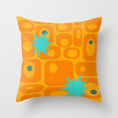 Orange Pillow Cover  Geometric Pillow Cover Mid by crashpaddesigns