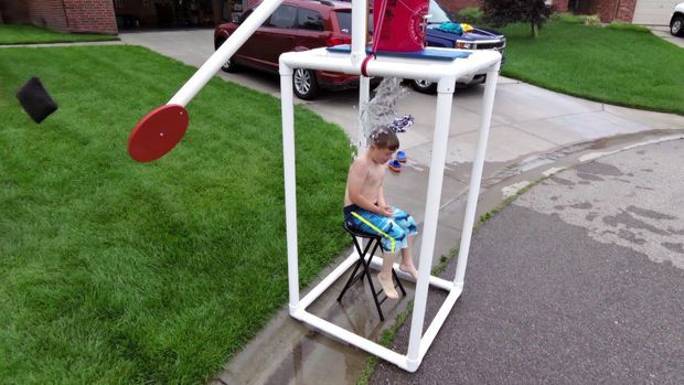 DIY DUNK TANK! Step-by-Step instructions on making a dunk tank using pvc, a bucket, and a toilet valve!